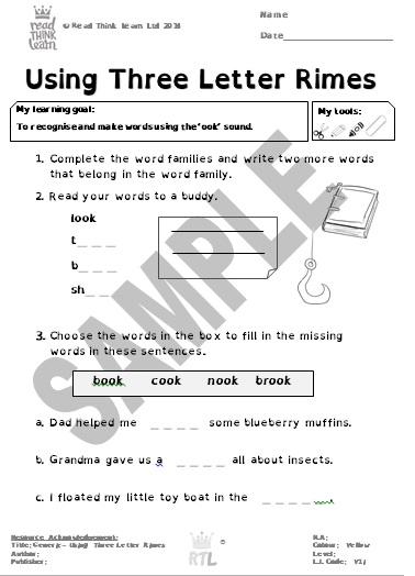 Generic - Using Three Letter Rimes