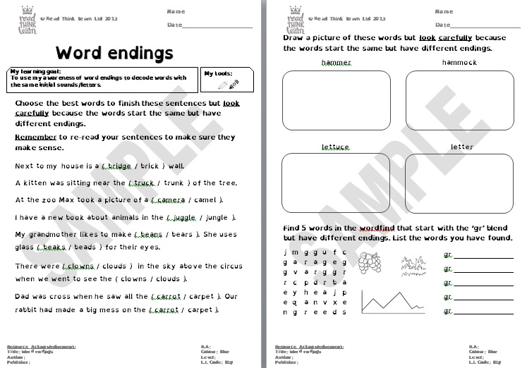 Generic - Word endings